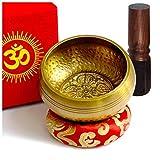 TARORO Cuenco Tibetano 7 Metales 12cm Diseño Antiguo Original Hecho a Mano en Nepal Himalaya Excelente Sonido Set Badajo, Cojin Caja de Papel Lokta Artesanal Regalo Espiritual Yoga Zen