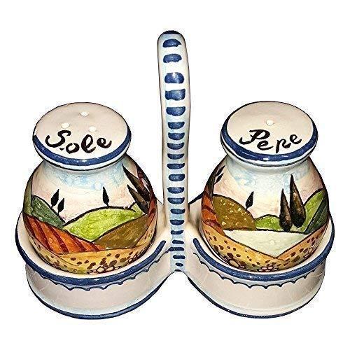 CERAMICHE D'ARTE PARRINI- Ceramica italiana artistica, set sale e pepe decorazione paesaggio girasoli, dipinto a mano, made in ITALY Toscana