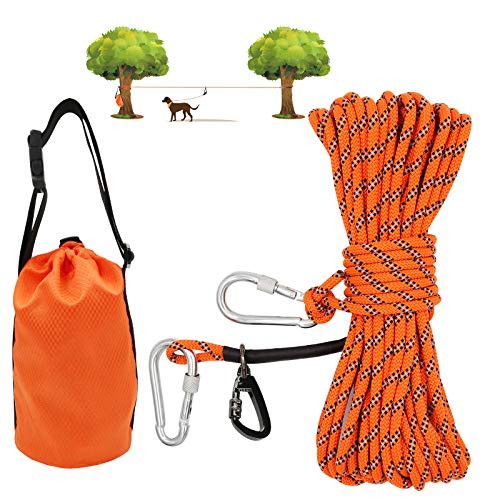 XiaZ Dog Tie Out Cable for Camping, 50ft Portable Overhead Trolley...