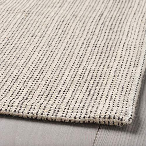 Lidoma Tappeto a pelo corto, cotone 100% riciclato, Ikea Tiphede, lavabile in lavatrice, bianco naturale, crema, 120 x 180 cm