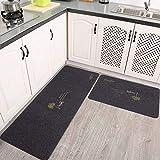 AiBOB Kitchen Rug - 2 Pieces Washable Kitchen Carpet Floor mat, Large Non-Slip Rubber Backing Doormat Set