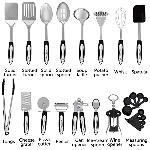 Product Image 2: Home Hero Stainless Steel Kitchen Cooking Utensils - 25 Piece Kitchen Utensil Set - <a href=