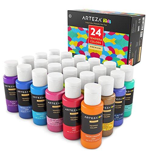 ARTEZA Kids Temperafarbe, 24 auswaschbare Bastelfarben in 60 ml Tuben, Verschiedene Glitzer, Metallic & Neon Farben, für Schule, Malen und Basteln