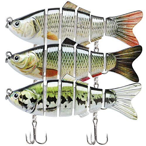 TRUSCEND Fishing Lures for Bass 3.9' Multi Jointed Swimbaits Slow Sinking Hard Lure Fishing Tackle Kits Lifelike