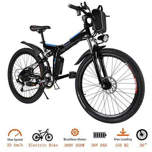 OppsDecor Folding Electric Bike with 26...