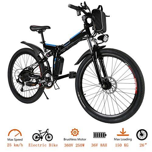 Oppikle Vélo Electrique 26' E-Bike - VTT Pliant 36V 250W Batterie au Lithium de Grande Capacité - Ville léger Vélo de avec moyeu 21 Vitesses (Noir)