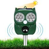 AILEDA Repellente Gatti, Repellente Ultrasuoni Energia Solare IP66 Impermeabile a Frequenza Regolabile per Allontanare Animali 5 modalità Regolabile Repeller Animali Ultrasound Repellente per Animali