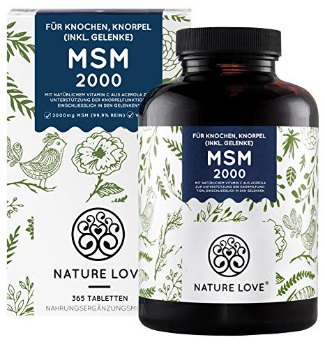 NATURE LOVE® MSM 2000mg mit Vitamin C - 365 laborgeprüfte...