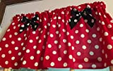 Red Polka Dot Black Bows Cotton Window Curtain Valance Handmade 42W x 15L Fabric