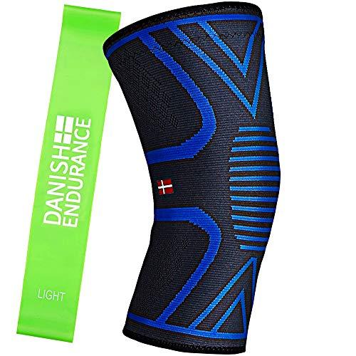 Ginocchiera a compressione tutore di supporto unisex & fascia elastica fitness (Medium)