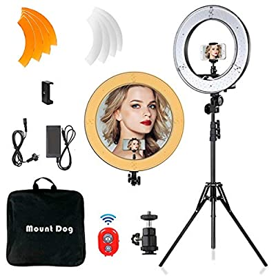 """【Dimmable Color Temparature & 1%-100% Dimmable Range】18""""/48cm Outer 55W 5500K LED Ring Light with 240pcs LED bulbs inside. Comes with 2 color filters (White & Orange) for 5500K±200K. Adjustable ring light head can be easily adjusted to the angle you ..."""