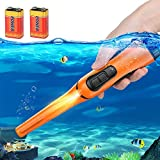 Metal Detector Pinpointer Ultra Sensitive 360-degree Searching IP68 Waterproof Up to 10 Meters Fully Underwater Handheld Metal Detector with Spring Buckle Holster for Adults and Kids (Orange)