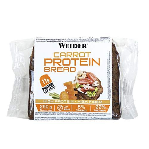 Weider Protein Bread Carrot. Pan Proteico con 11g de proteína y un 5% de zanahoria por rebanada. Con fibra y bajo en azúcares. (1x250 g)