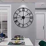 Grande horloge murale en métal silencieuse fonctionnant à piles - Style vintage à chiffres romains - Décoration de salon, chambre, cuisine - Ronde, 60 cm, noir