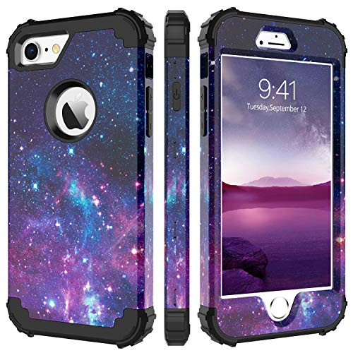 iPhone 8 Case, iPhone 7 Case, BENTOBEN Heavy Duty Shockproof 3 in 1 Slim Hybrid Hard PC Soft Silicone Bumper Space Galaxy Design Protective Phone Case Cover for iPhone 8 /iPhone 7 (4.7') Nebula Purple