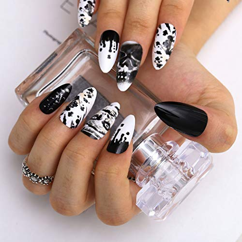 Fairyu Gothic Halloween Press on Nails Long Black Fake Nails Stiletto False Nails Skull Halloween Party Nails Decorations for Women and Girls