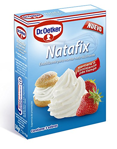 DR. OETKER Estabilizante de Nata Natafix   Estabilizante en Polvo para Montar y Fijar la Nata en Pasteles, Bizcochos y Tartas - Pack de 3 Sobres (3 Ocasiones de Consumo)