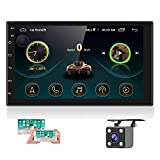 Hikity Android Car Stereo Double Din 7 Inch Touch Screen Car Radio with GPS Navigation Bluetooth FM Supports Mirror Link for iOS/Android Phones WiFi Connect + Backup Camera