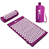 amzdeal Kit Tapis d'Acupression 68x42cm, Tapis de Massage en Coton, Tapis de Yoga d' Acupuncture, Comprend Oreiller de Massage Portatifs 37x15x10cm et Sac de Transport, Soulagement et Détente-Violet