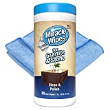 MiracleWipes for Granite & Stone, Clean, Protect, and Polish Countertops and Stone Surfaces Including Marble, Quartz, Slate, Tile, and Laminate, Great for Kitchen and Bathroom Cleaning Support, Includes Microfiber Towel - 30 Count Kit