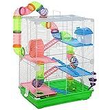 Pawhut Cage pour Hamster Souris Rongeur 4 étages avec Tunnels...
