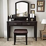 """Decok 39.4"""" Simple Vanity Set with Large Curved Mirror, Vanity Desk, Solid Wood Legs, Makeup Table Set with 4 Drawers and Steel Handles for Women/Girls, Bedroom, Espresso"""