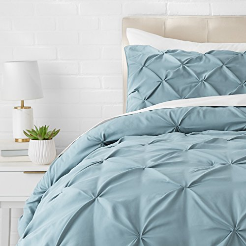 AmazonBasics Pinch Pleat Comforter Bedding Set, Twin, Spa Blue