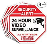 (4 Pack)'Security Alert, 24 Hour Video Surveillance, All Activities Monitored' Signs,10 x 10 .040 Aluminum Reflective Warning Sign for Home Business CCTV Security Camera, Indoor or Outdoor Use