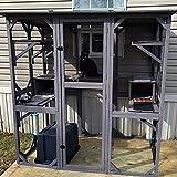 GUTINNEEN Large Cat House Outdoor Walk in Wooden Cat Enclosure Indoor Cat Cage Kitty Condo Playpen with Large Door, Platform & Small House