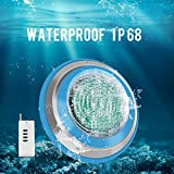 Roleadro Led Pool Light, Waterproof IP68 47W RGB Swimming Pool Lights Multi Color, 12V AC Led Inground Pool Light Control with Remote Controller - 6ft Cord