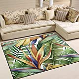 Area Rugs Watercolor Green Tropical Palm Leaf Banana Indoor/Outdoor Floor Mat Livingroom Bedroom Sofa Carpet Non Slip Home Hotel Large Custom Area Rug Mat 6.67'x4.83'
