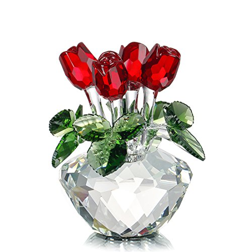 Red Rose Figurine Ornament Spring Bouquet Crystal Glass...