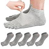 REKYO Toe pour Hommes 5 Paires Chaussettes Coton Bas Coupé, 5 Doigts Chaussettes pour Hommes Respirant Et Doux ,Gris Clair,39-44