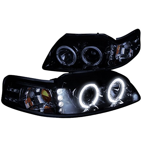 Spec-D Tuning 2LHP-MST99G-TM Ford Mustang Glossy Black Halo Led Projector Headlights