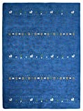 Rugsotic Carpets Hand Knotted Gabbeh Silk and Wool 8'x10' Area Rug Contemporary Blue LSM585