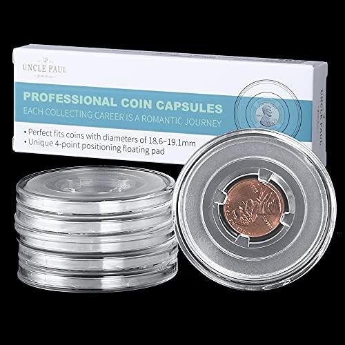 Uncle Paul Capsule per Monete con Cuscinetti galleggianti di Posizionamento a 4 Tasche Raccoglitore Portamonete per Lincoln Cent/Penny/Canadian 1 Cent/Euro 2 Cent 6 Pack JC0119006