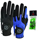 Zero Friction Male Men's Compression-Fit Synthetic Golf Glove (2 Pack), Universal Fit Black/Blue,...