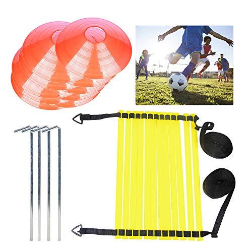 DBREAKS Fußballtrainning Set (4 pcs) mit Koordinationsleitern und Kegel, Metallnägel & Tragetasche für Agility Training, Fussball, Fitness