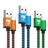 Type C Cable Fast USB C Charger 6FT 3Pack Charging Cord Braided Phone Charger for Samsung Galaxy A10e A20 A50 S8 S9 S10 Plus S20 S10E, Moto G6 G7 Z3 Z4, LG Stylo 4 5, LG G6 G8 G7 Thinq, V50 V30 V20