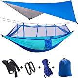 TOPCHANCES Upgrade Ultralight Portable Nylon Camping Hammock Mosquito Net with Rain Fly Tent Tarp for Outdoor, Hiking, Backpacking, Travel (Light Blue +Blue Hammock with Blue Net)