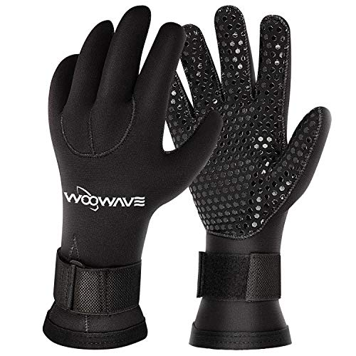 WOOWAVE Diving Gloves 3mm Premium Double-Lined Neoprene Wetsuit Gloves with Adjustable Strap for Men...