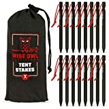 Wise Owl Outfitters Tent Stakes 7075 Heavy Duty Aluminum Metal Ground Pegs - 16 Pack to Stake Down A Tarp and Tents - Best Easy Lightweight Strong Outdoor Camping Spikes