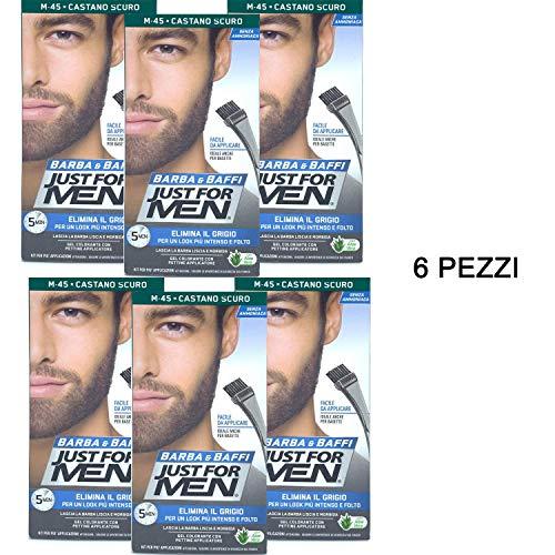 6 X JUST FOR MEN BARBA E BAFFI COLORE TINTURA PERMANENTE CON PENNELLO SENZA AMMONIACA CASTANO SCURO M 45 GEL COLORANTE