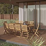 Amazonia Bergen 11-Piece Outdoor Oval Dining Set   Certified Teak   Ideal for Patio and Indoors, Light Brown