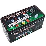 Extraela Set de póker Caja de Metal, 200 fichas de póker, 2 Cubiertas, botón de repartidor, ciega pequeña, Gran ciega, tapete de Juego
