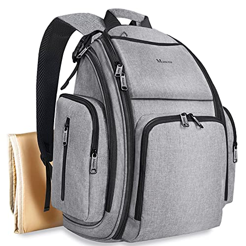 Diaper Bag Backpack, Large Multifunction Waterproof Travel Baby Nappy Changing Bag for Dad Mom with Insulated Pockets, Changing Pad, Stroller Straps, Mancro Maternity Baby Bag for Boys Girls, Grey
