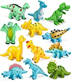 Geyiie Dinosaurs Bath Toy, 12pcs Baby Bath Toys Playset for Toddlers Bathtub Water Squirt Toys with Dinosaur Party Favors and Kids' Gifts for Easter.