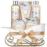 Coffret Cadeau Naturel pour Femme -Body&Earth 6 Pcs Coffret de Bain & Douche au Parfum de Jasmin et de Miel -Parfait Cadeau Bio pour l'Anniversaire, Fête des mères et le Noël