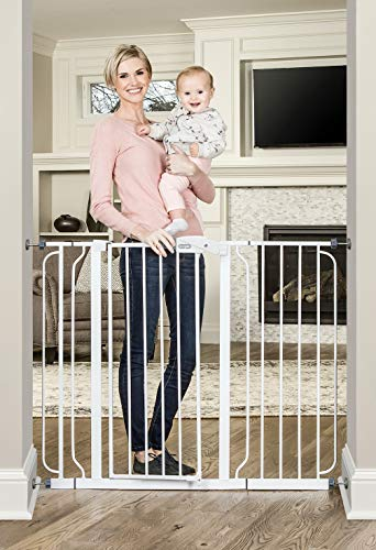 Regalo 37-Inch Extra Tall and 49-Inch Wide Walk Thru Baby Gate, Includes 4-Inch and 12-inch Extension Kit,( 4 count of Pressure Mount Kit and 4 Count of Wall Mount Kit)