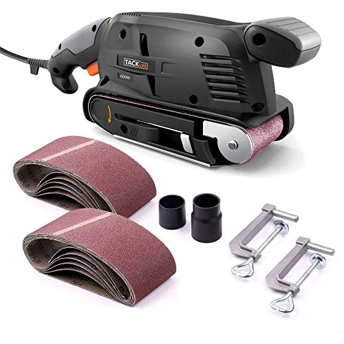 3 × 18-Inch Belt Sander with 13Pcs Sanding Belts, Tacklife Sanding Platform, with 10Feet(3M) Power Cord, Variable-speed Control, Fixed Screw Clamp, Dust Box, Vacuum Adapter - PSFS1A